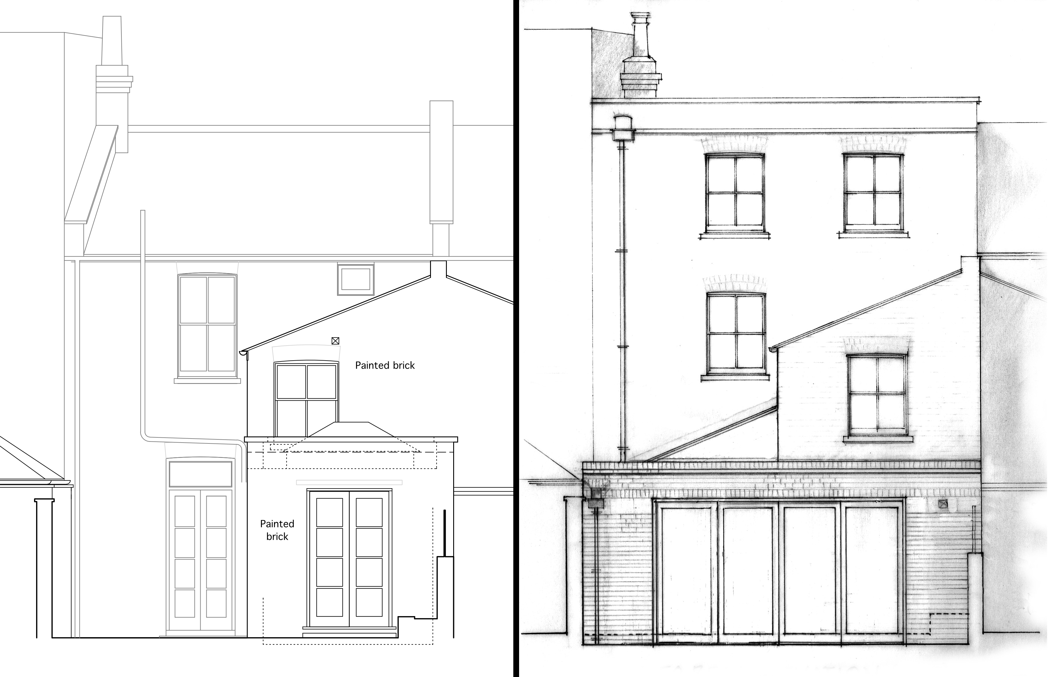 Terraced House Rear Elevation Before and After