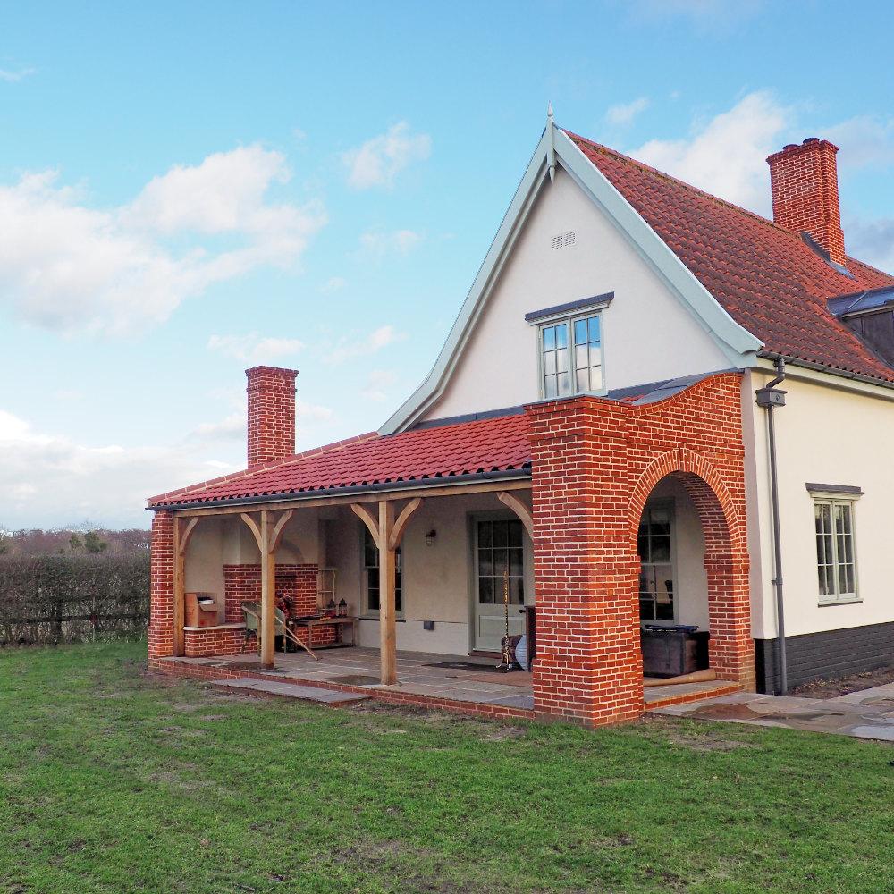 Brick and timber veranda at country lodge